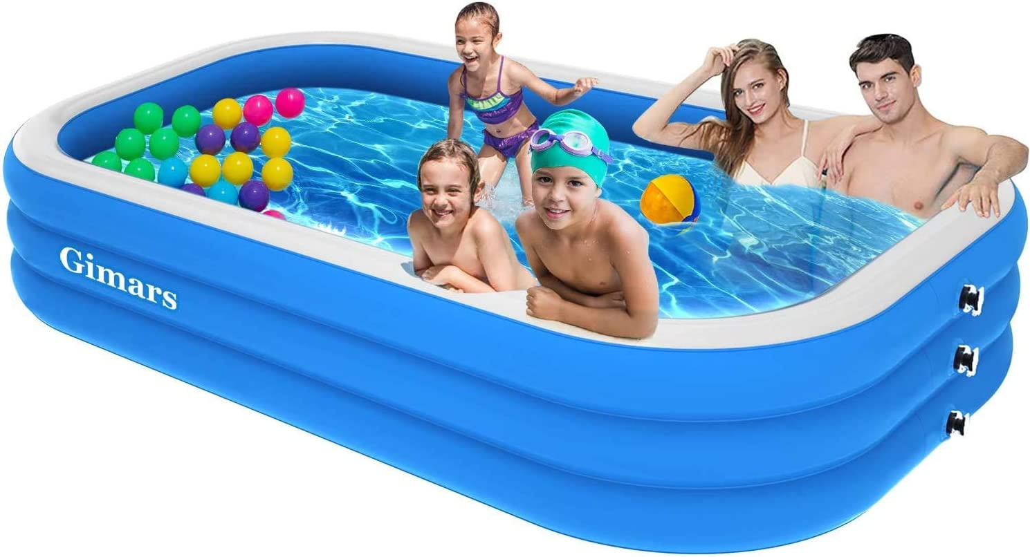 Gimars Upgrade Thicker No Leaking 120x72x22 Inch Inflatable Swimming Pools