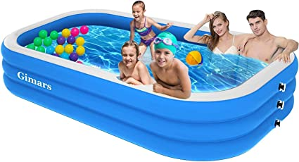 Gimars Upgrade Thicker No Leaking 120x72x22 Inch Inflatable Swimming Pools Full Sized Inflatable Pools Family Swimming Pool For Kids Adults Babies Toddlers Outdoor Garden Backyard Garden Outdoor