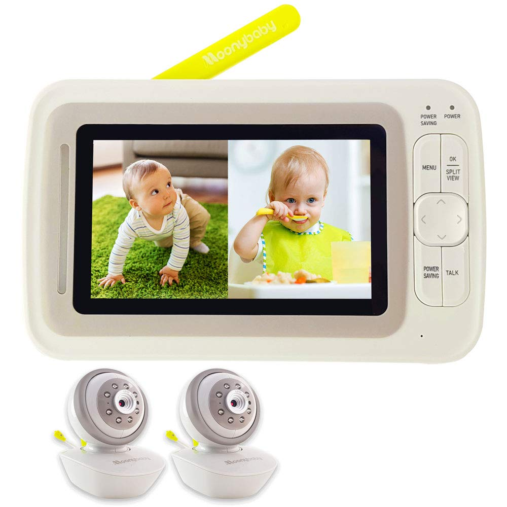 Moonybaby Split 60 Video Baby Monitor 2 Cameras, Split Screen, Pan Tilt Zoom, Extended 12hrs Battery Life, 4.3 Inches Large Monitor, Night Vision, 2 Way Talk Back, Long Range, Wide View Lens Included