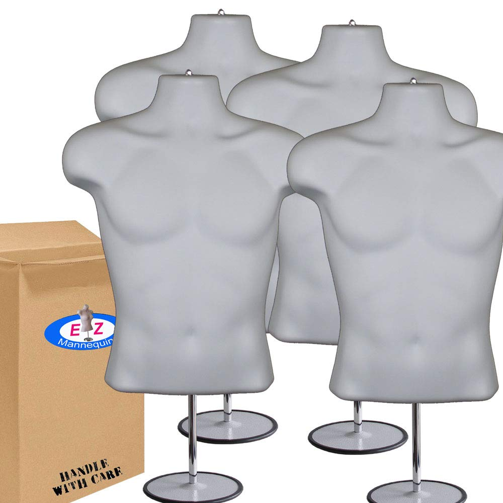 4-Pack Male Mannequin Torso, Dress Form Hollow Back Body Tshirt Display, w/Stand for Counter by EZ-Mannequins for Craft Shows, Photos or Design, Easy to Assemble and Store, S-M Clothing Sizes, White.