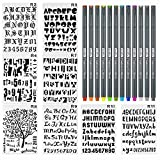 8 Pieces Letter and Number Stencils Alphabet Stencil Plastic Planner Supplies Template for Planner/Notebook/Scrapbook Craft Painting Drawing 10x6.8inch & 12 Color Fineliner Bullet Journal Pen