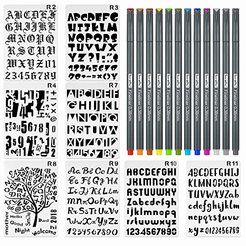 8 Pieces Letter and Number Stencils Alphabet Stencil Plastic Planner Supplies Template for Planner/Notebook/Scrapbook Craft Painting Drawing 10x6.8inch & 12 Color Fineliner Bullet Journal Pen by cldhouse