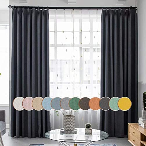 MacoHome Grey Linen Bedroom Curtain 100 Inch Wide