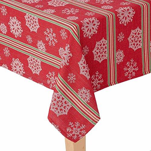 "St. Nicholas Square Festive Striped Snowflake Printed Fabric Christmas Tablecloth - 60"" x 84"" Oblong"