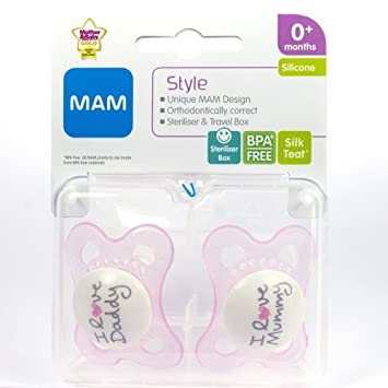 Amazon.com : MAM Style - I Love Mummy & I Love Daddy Soother Twin ...
