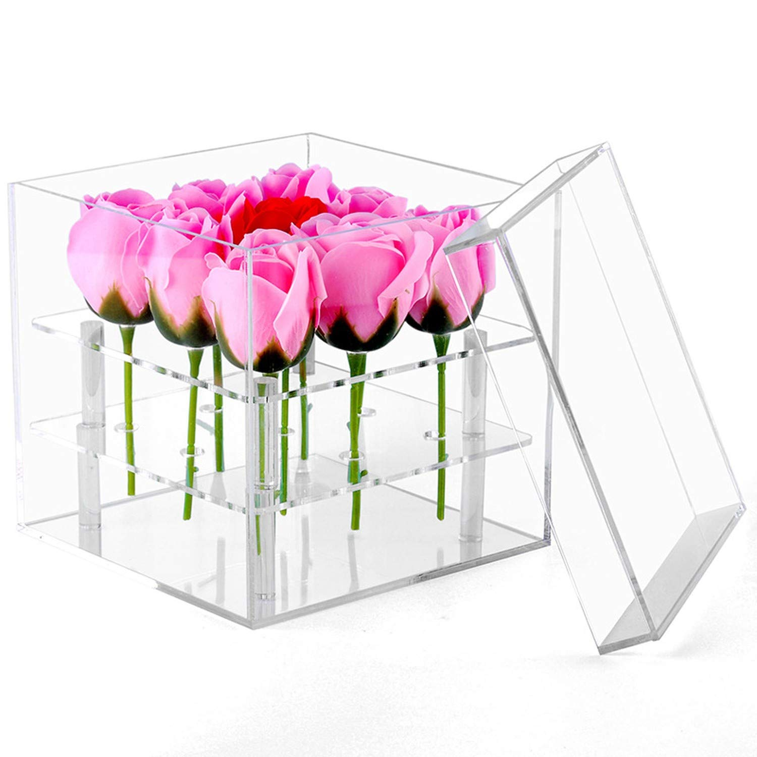 Clear Acrylic Rose Flower Box Makeup Organizer Cosmetic Tools Holder Flower Gift Box for Girlfriend Wife with Cover,16 Holes by Sweet But Psycho Flower Box