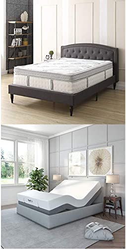 Classic Brands Gramercy Euro-Top Cool Gel Memory Foam and Innerspring Hybrid 14-Inch Mattress Adjustable Bed Base