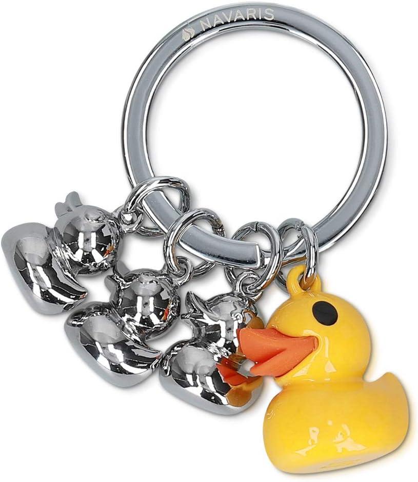 Navaris Llavero de Pato - Llavero de Metal para Llaves Coche y casa - Colgante para Mochila o Bolso con Familia de Patos