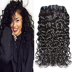 Iwish Brazilian Hair Water Wave 3 Bundles Wet and Wavy Human Hair Bundles Unprocessed Virgin Hair Bundle Deals No Shedding Weave Extensions (10 12 14, natural black)