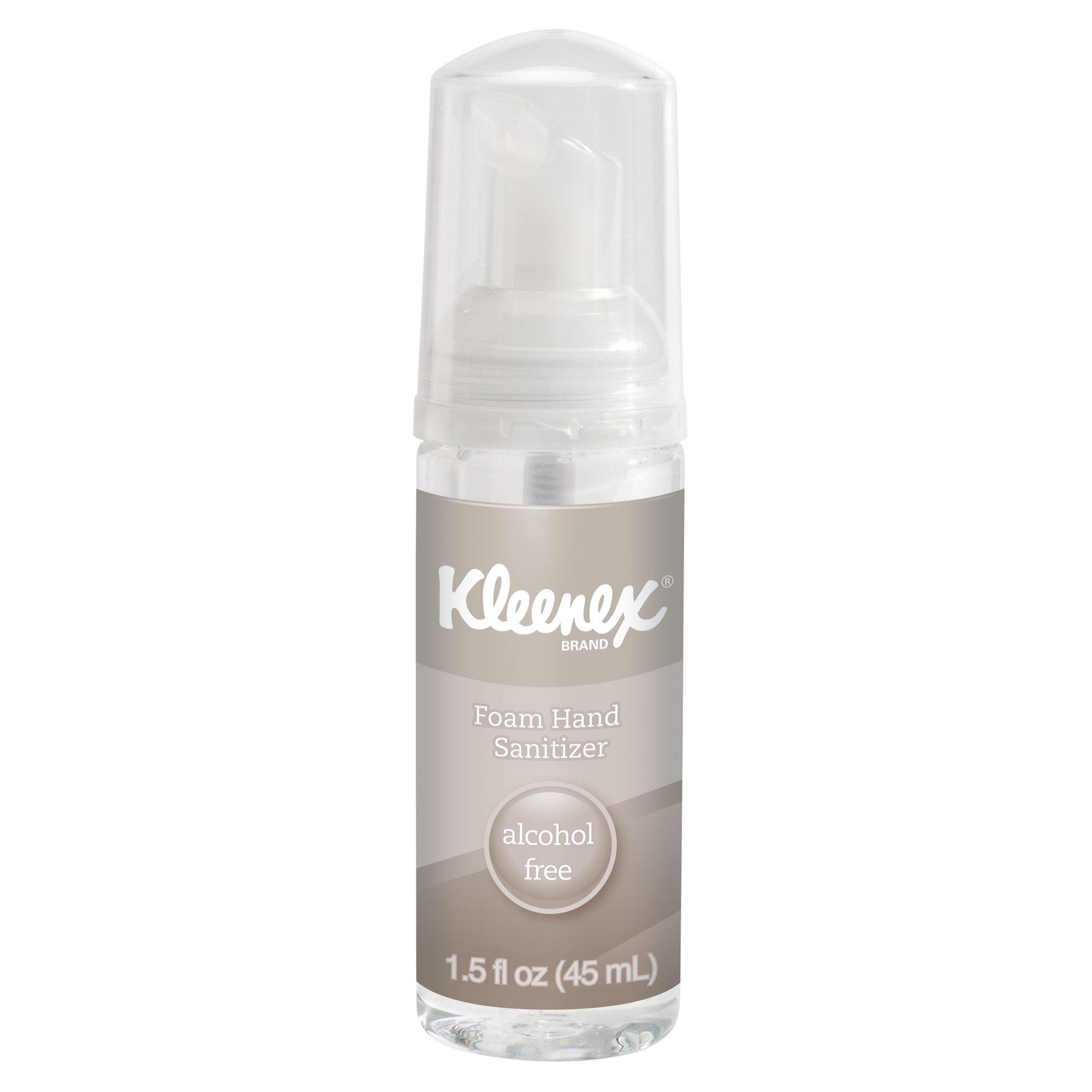 Kleenex Alcohol Free Foam Hand Sanitizer (34136), Clear, Unscented, 1.5 OZ. Pump Bottle, 12 Bottles / Case