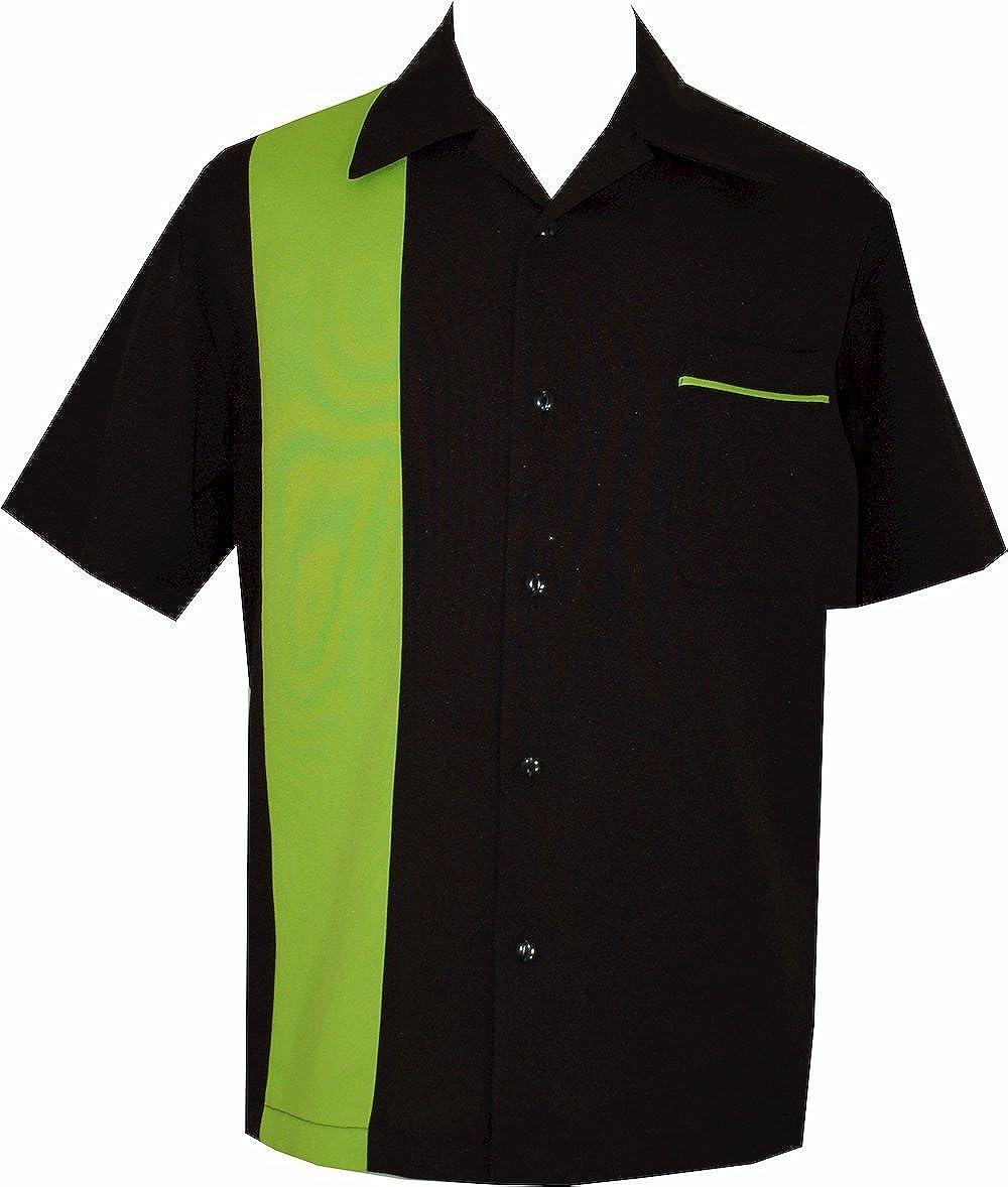 BeRetro Bowling Retro Camp Short-Sleeve Men's USA Made Shirt ~ LimeShock