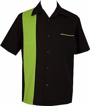 fe876fffabf1 BeRetro Bowling Retro Camp Short-Sleeve Men s USA Made Shirt ~ LimeShock ...