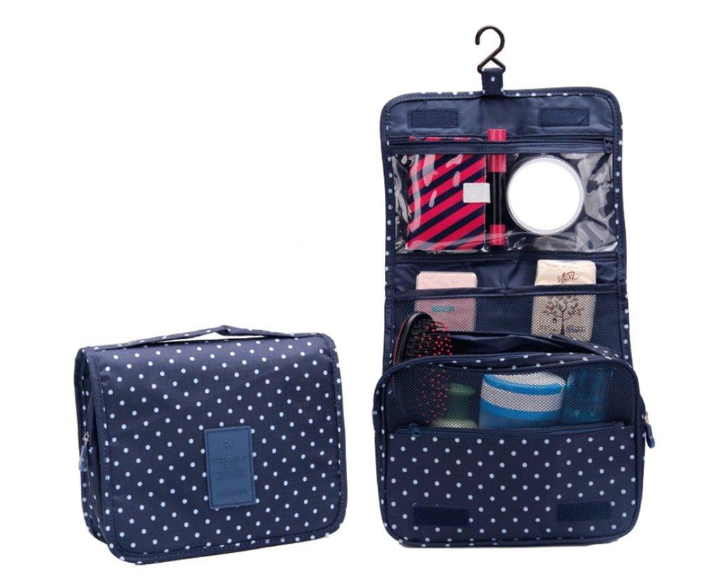 Kanggest 1pcs Borsa per cosmetici Borsa per le donne Toilette Viaggi Custodia Wash Bag Cosmetic appesi viaggio Custodia impermeabile da toilette Wash Bag pieghevole floreale borsa da viaggio (Bleu )