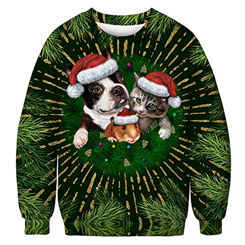 URVIP Unisex Halloween Christmas Themes 3D-Print Athletic Sweaters Fashion Hoodies Sweatshirts Dog Cat Mouse BFT-010 -