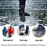 VTOSEN Black Waterproof Rain Boot Shoe Cover with