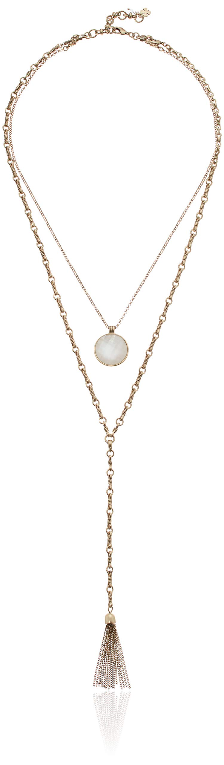 Lucky Brand Women's Layer Mother of Pearl Y Shaped Necklace, Gold, One Size