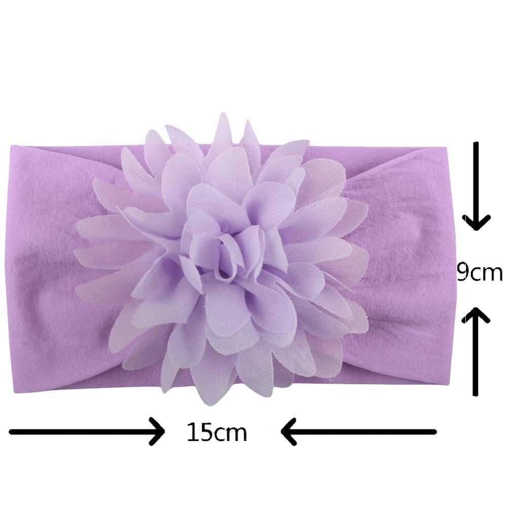 Neonate Fasce Strecth Fascia Per Capelli Turbante Annodata Con Fiore Di Chiffon Accessori Per Capelli Per Neonati