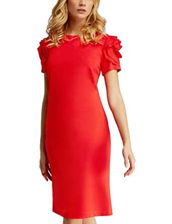 25a041016bef APART Fashion Damen Kleid 42357, Rot, 42  Amazon.de  Bekleidung