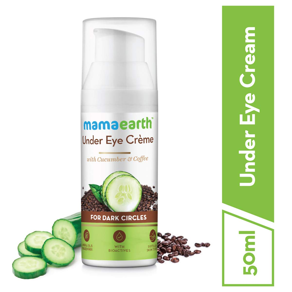 Mamaearth Natural Under Eye Cream For Dark Circles Wrinkles With Coffee Cucumber Amazon In Beauty