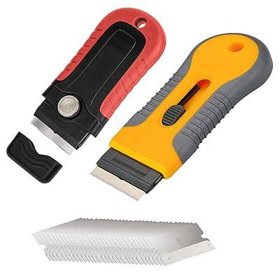 Use on Ceramic Sticker Remover Tool Mini Plastic Handle Razor Scraper Glass Window