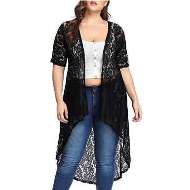 Women Plus Size Beach Floral Chiffon Kimono Cardigan Beachwear Cover Up Overcoat