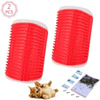 2 Pcs/Set Cat Self Groomer Brush Catnip-Wall Corner Mounted Massage Grooming Comb-Helps Prevent Hairballs and Controls Coming-Safe fortable with Catnip (Red)