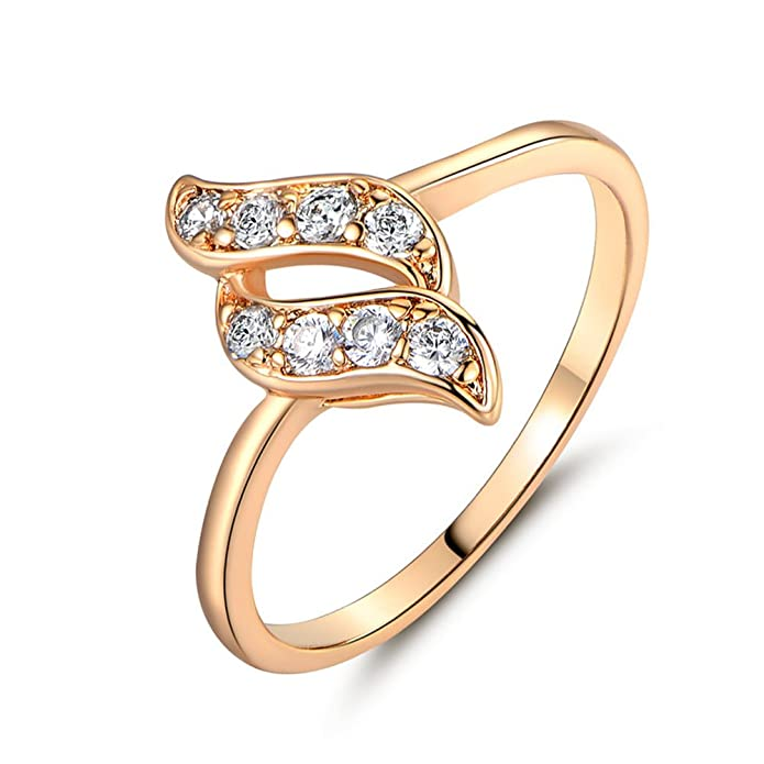 FT-Ring Fashion Gold Plated Ring for Women White Jewelry Wedding Rings T/&T
