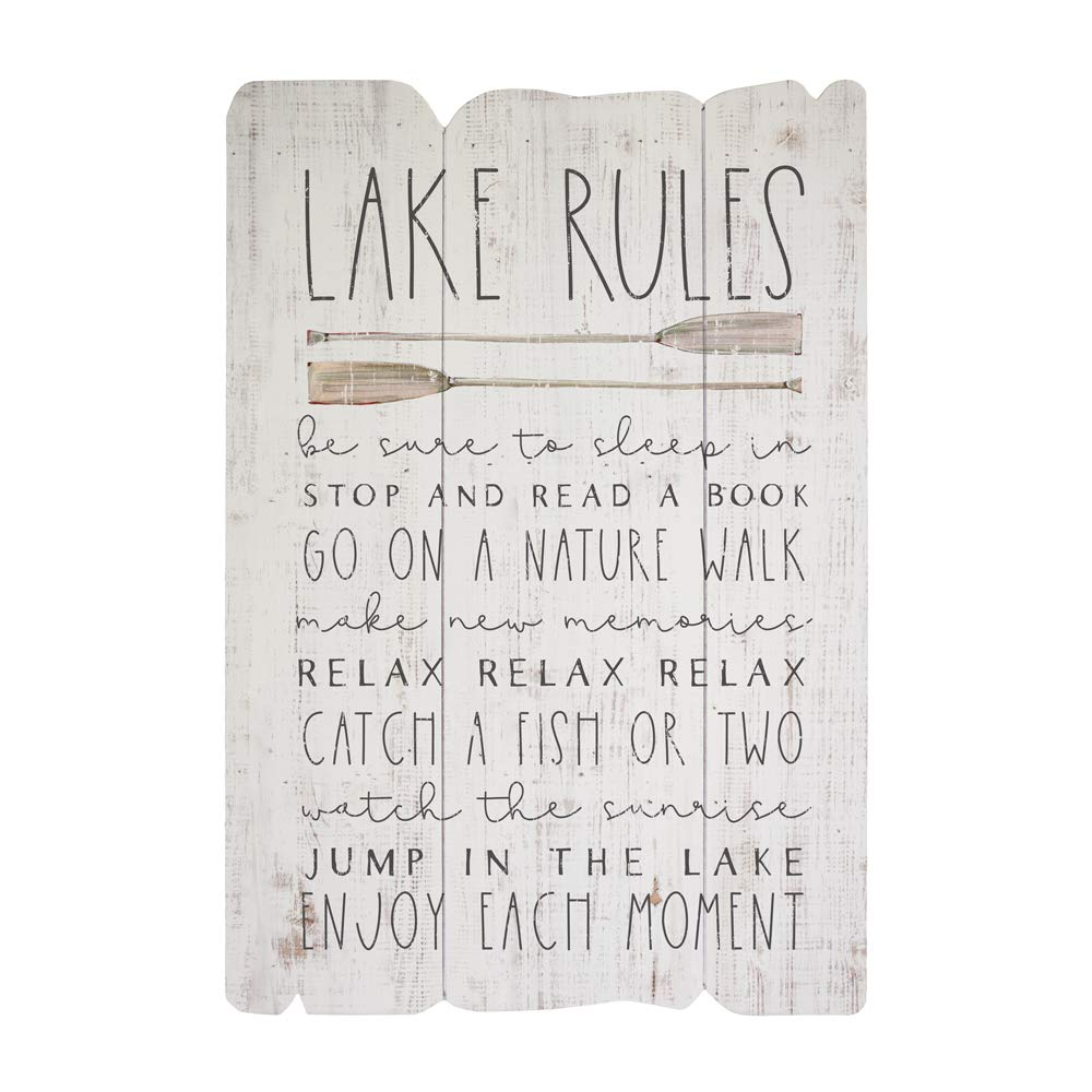 "Simply Said, INC Splendid Fences 14"" x 20"" Wood Sign - Lake Rules"