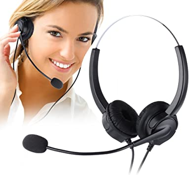 Telephone Headset Noise Cancelling with Mic for Call Center Desk Telephone