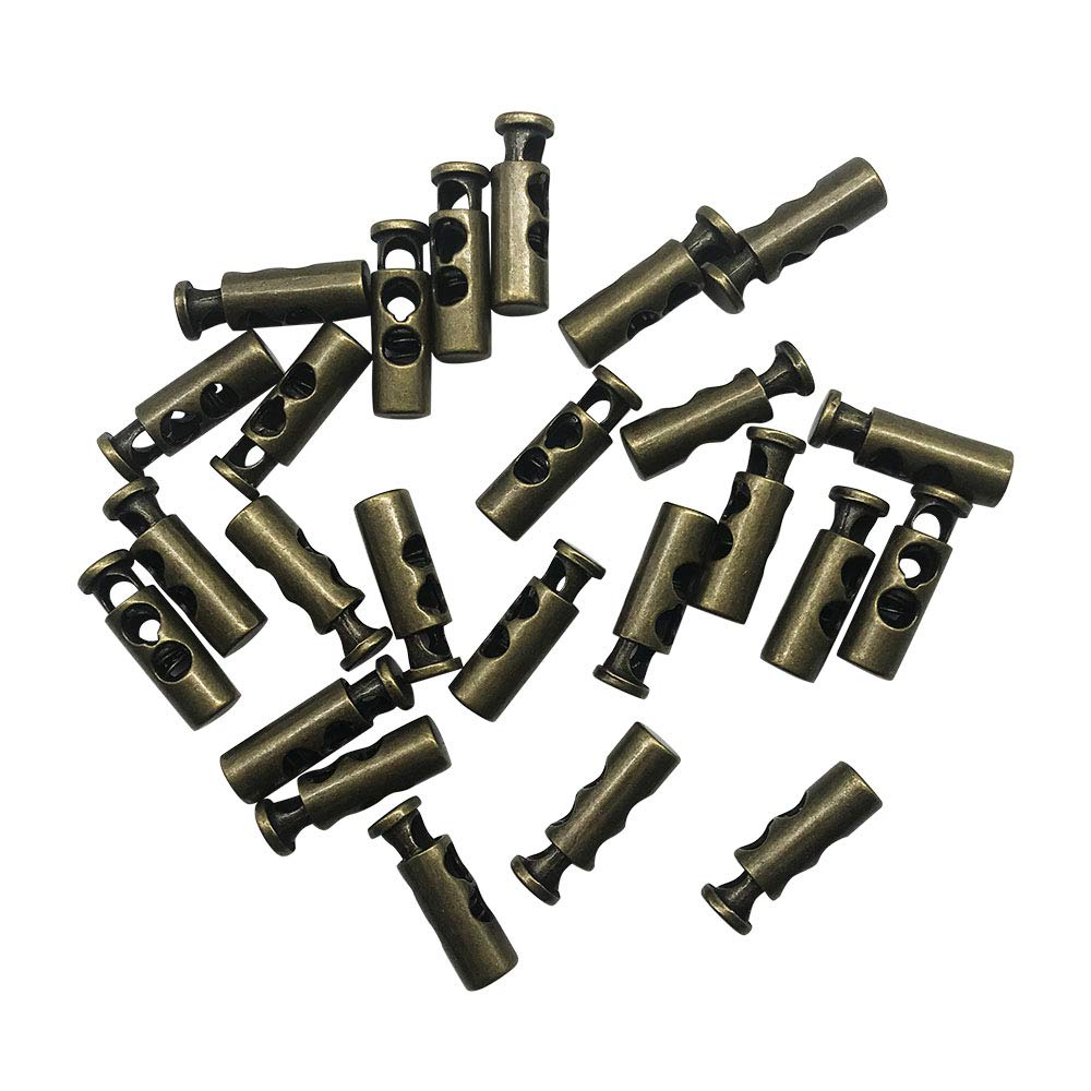 PETMALL Pack of 25 Antique Brass 2 Holes Metal Toggle Spring Stop Double Holes String Cord Locks Gun Black Q2559 5mm Cord