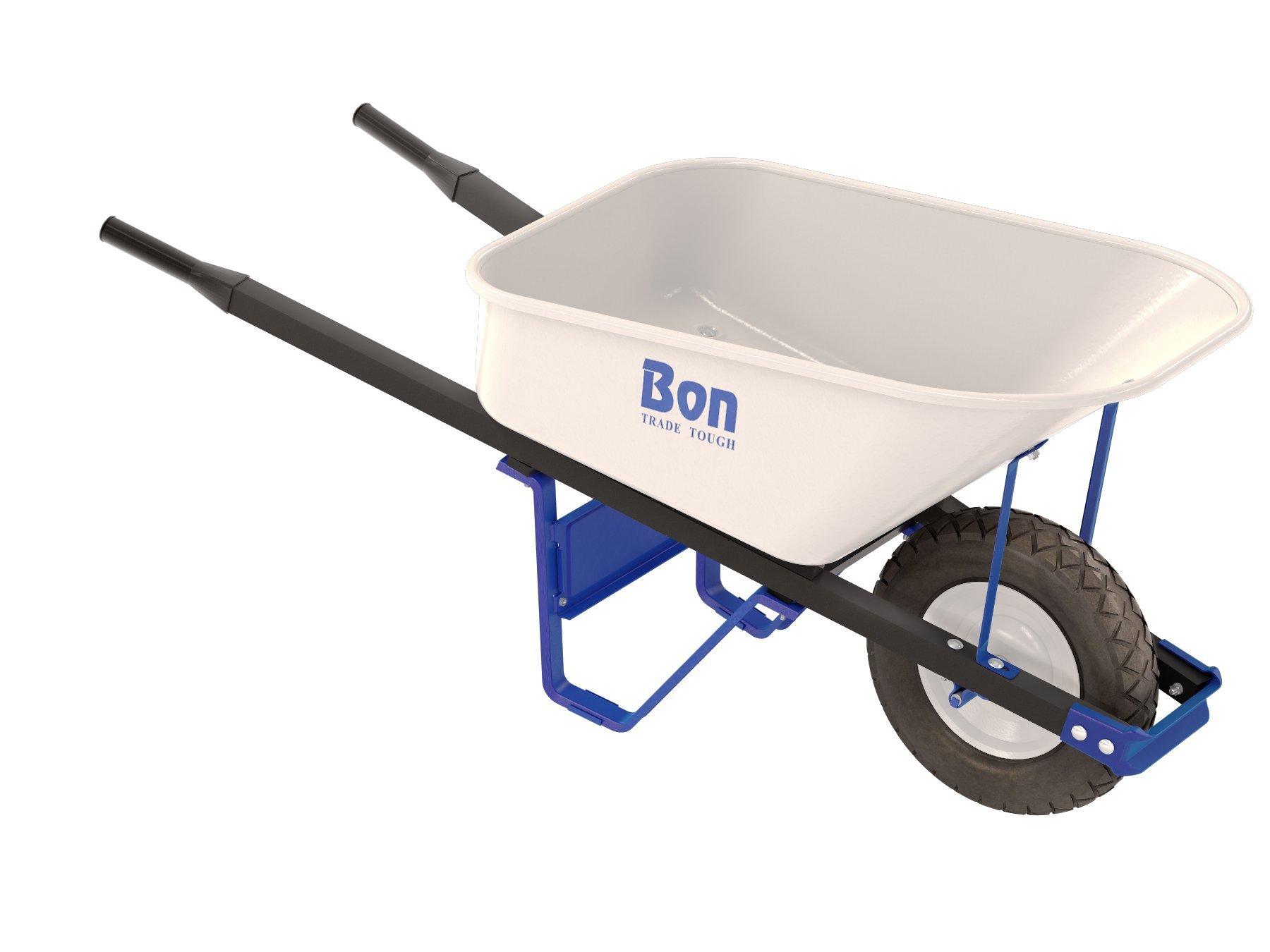 BON 84-974 Trade-Tough Steel Tray Wheelbarrow with 16'' Flat Free Tire, 16 Cu. Ft.