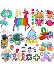 NQ 40 st TIK Tok Fidget leksaker pack julfioler leksaker push bubbla pop leksak stress ångestlindring leksaker set för ADD OCD autistiska barn vuxna ångest autism, överraskningsgåvor julfestsgåva