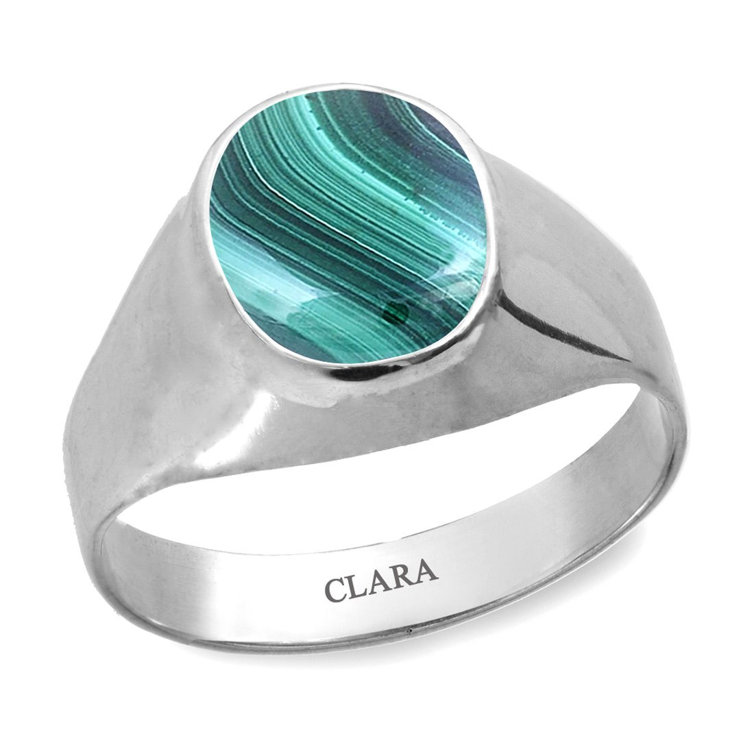 9.3cts or 10.25ratti original stone Sterling Silver Astrological Ring for Men and Women CLARA Certified Malachite Daana Firang