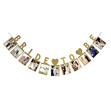 inkach photo banner wall hanging bunting banner wedding bridal shower party decoration gold