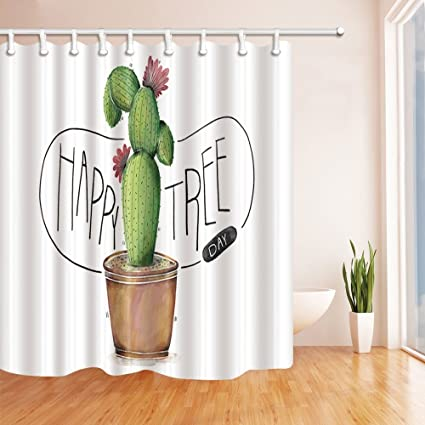 HiSoho Prickly Pear Cactus Shower Curtains For Bathroom, Desert Cactus Tree  In Pot, Polyester