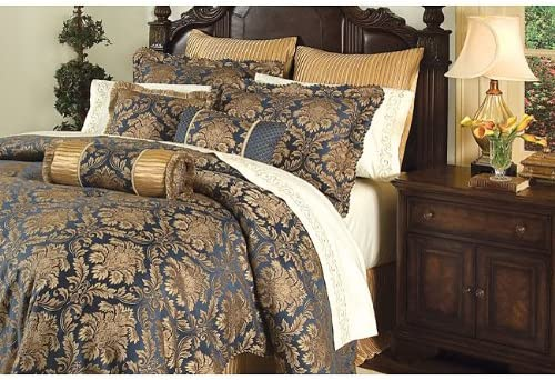 Amazon.com: 8 PC. ARDENNE GOLD / NAVY BLUE COMFORTER SET W/ MATCHING  SHEETS: Home & Kitchen