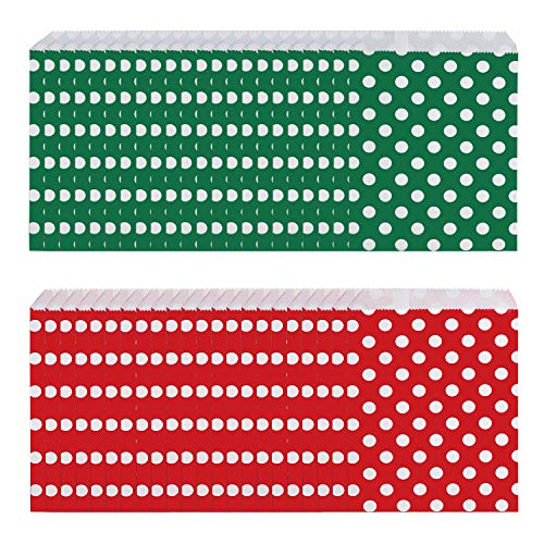 100 pieces Christmas Treat Bags Candy Buffet Paper Bags Xmas Holiday Party Favor Goody Bags Gift Bags Candy Bags (Green Paper Favor Bags)