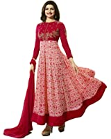 Ethnic Empire Women's Georgette Anarkali Salwar Suit Set (Eed-Ea10219_Red_Free Size)
