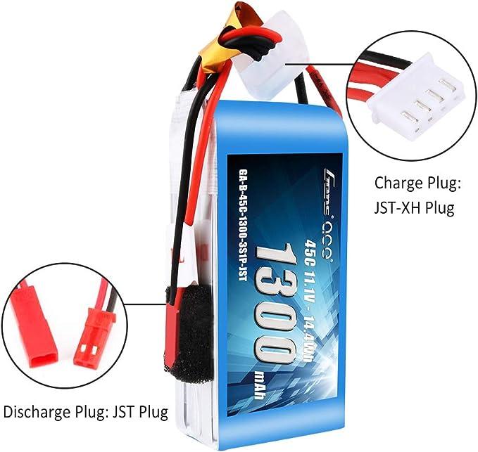RC Batterie 11.1 V 1300 mAh 3 cellules 3s1p 30 C Mini JST-Plug
