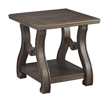 Ashley Furniture Signature Design   Tanobay Traditional Square End Table    Gray