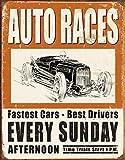 Vintage Auto Races Tin Sign , 12x16