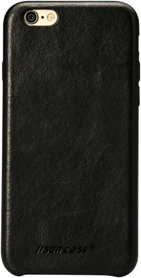 JISONCASE iPhone 6s Plus Case Genuine Leather Hard Back Case Slim Fit Protective Cover Snap on Case for iPhone 6 Plus/ 6s Plus [Black]- JS-I6U-01A10