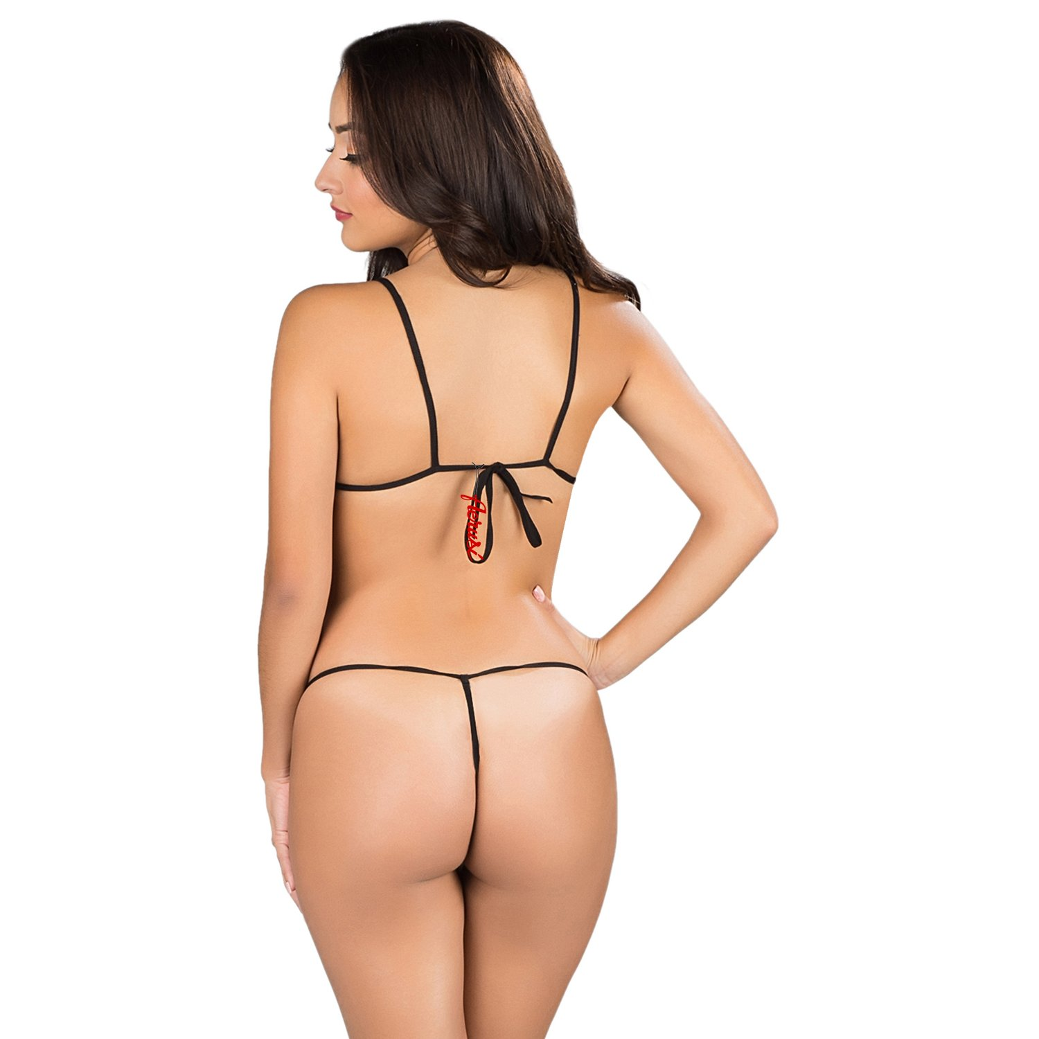 34cc4240725 Amazon.com  Black Fantasy Lingerie Role Play Bra Top + g-string Thong  Exotic Backless Sleepwear Naughty Constume