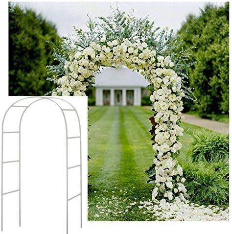 Blanco 2,4 M Metal Arco jardín cenador Planta Rosa Escalada Arco decoración Fiesta de Boda: Amazon.es: Hogar