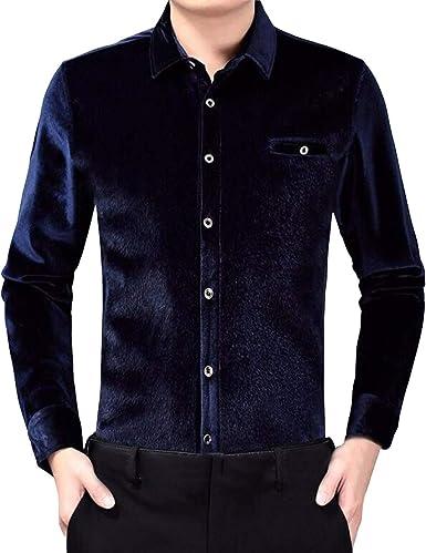 Sliktaa - Camisa para hombre, de terciopelo grueso y cálido, manga larga, informal, sin planchar, otoño e invierno