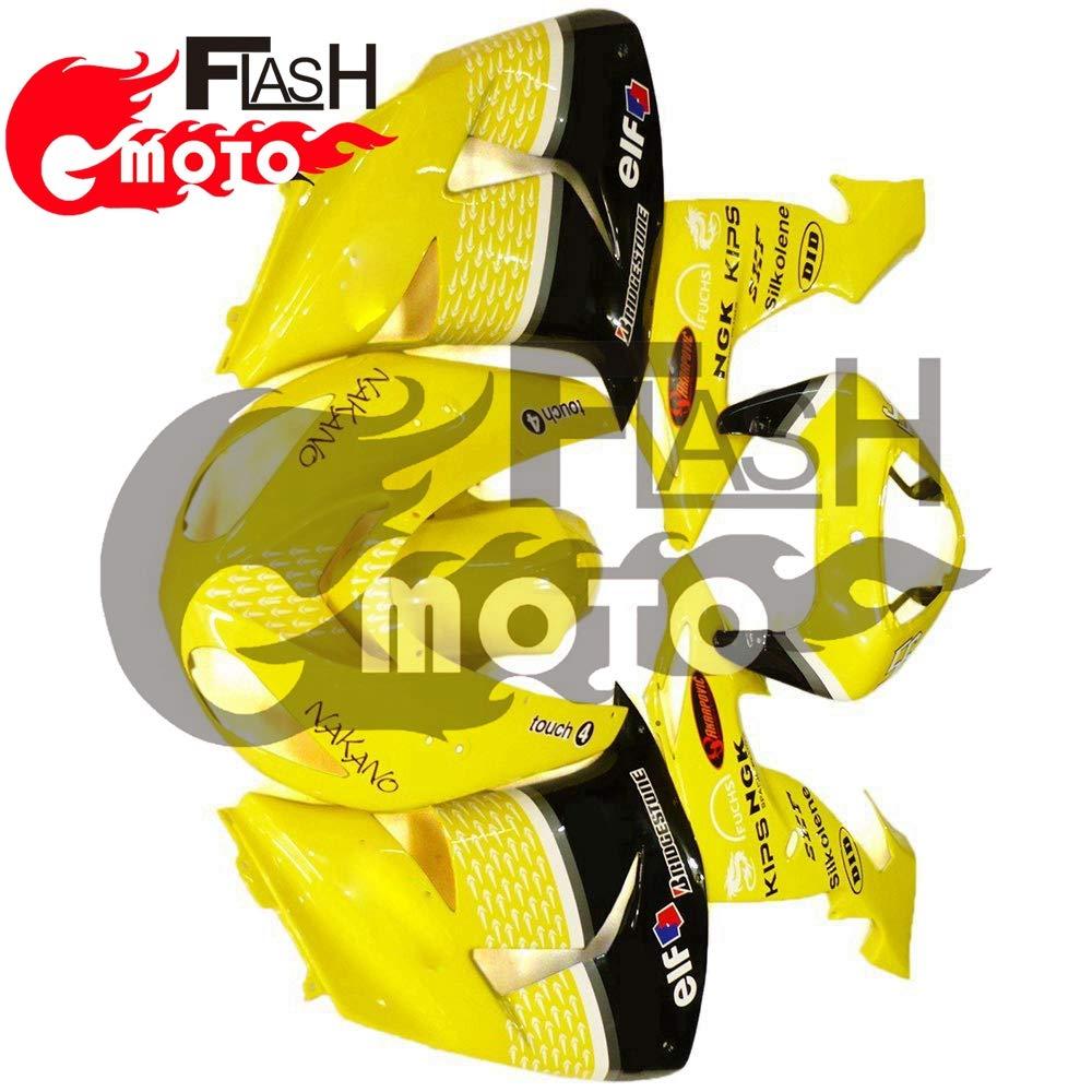 FlashMoto kawasaki 川崎 カワサキ ZX-10R ZX10R Ninja 2006 2007用フェアリング 塗装済 オートバイ用射出成型ABS樹脂ボディワークのフェアリングキットセット (イエロー,ブラック)   B07L89FNRR