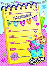 Shopkins Pack Of 20 Party Invites With Envelopes
