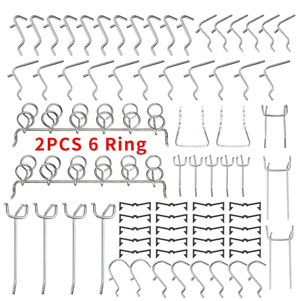 Pegboard Hooks Set, 72 Pcs Peg Board Organizer Assortment with Two 6 Ring Tool Holder, Including 52 Pcs Pegboard Hanger & 20 Pcs Peg Locks for 1/4'' 1/8'' Pegboard, Perfect for Garage Kitchen Workshop
