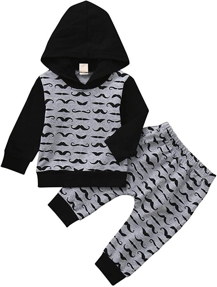 Lurryly 2Pcs Baby Long Sleeve Boys Beard Hoode Tops+Pants Kids Clothes Outfit Set 0-2T
