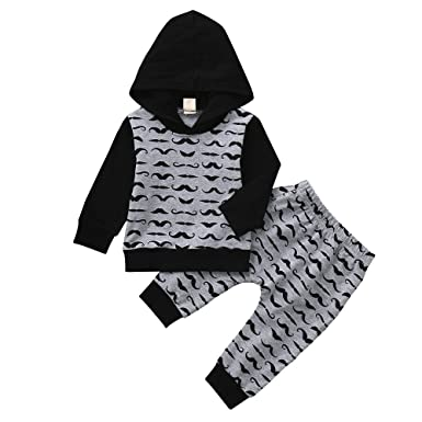 f64840b993f9 Big Promotion!PLOT Clearance 2Pcs Baby Long Sleeve Boys Beard Hoode ...